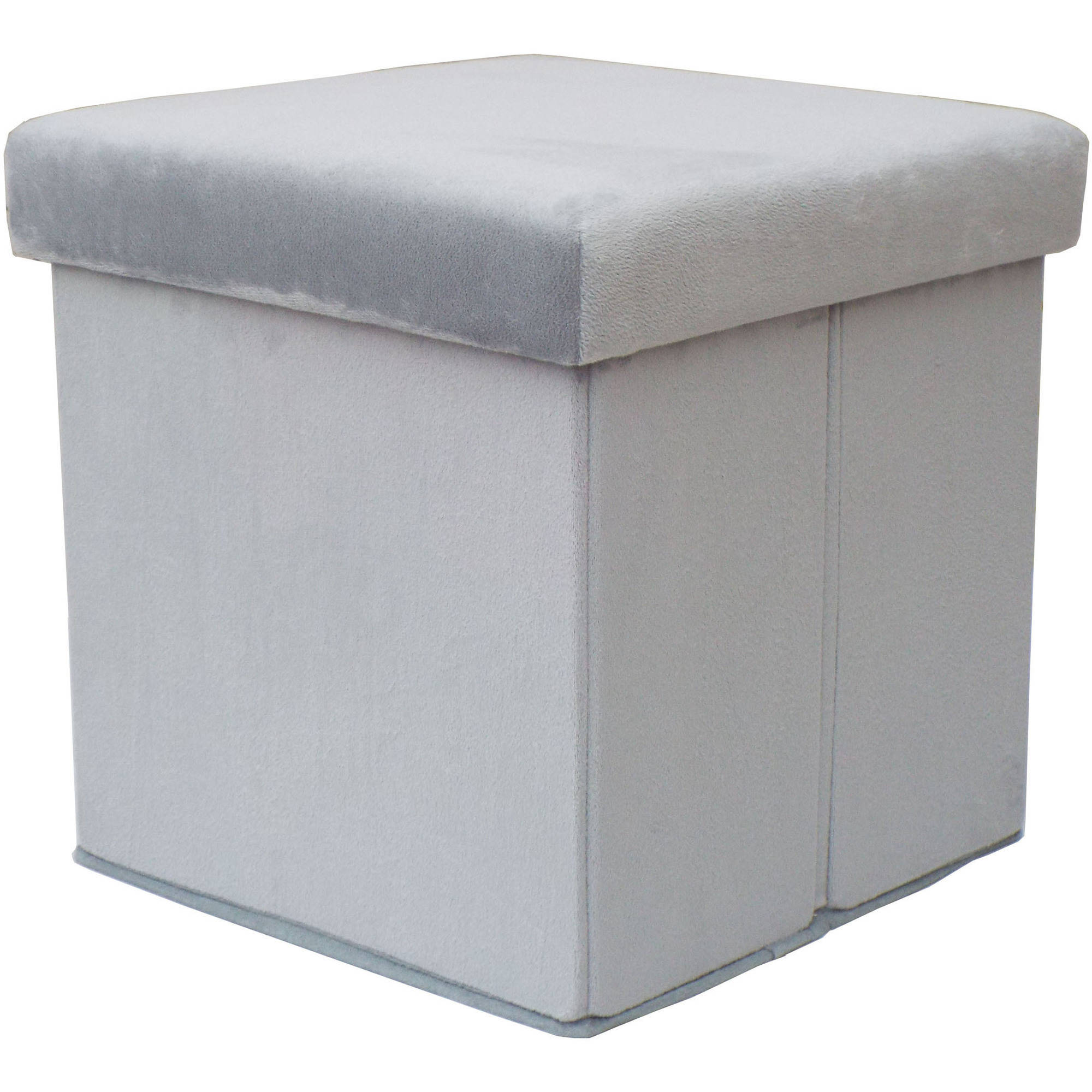 Mainstays Collapsible Plush Storage Ottoman Grey Walmartcom