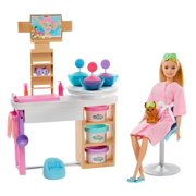 Barbie Face Mask Spa Day Playset, Blonde Barbie Doll, Puppy, Molding Toy & Dough
