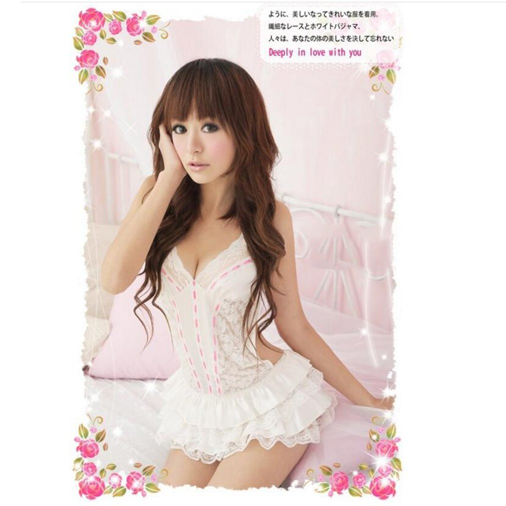 2c42f311c Women Lace Charming Passion Lingerie Backless Halter Babydoll G-String Dress