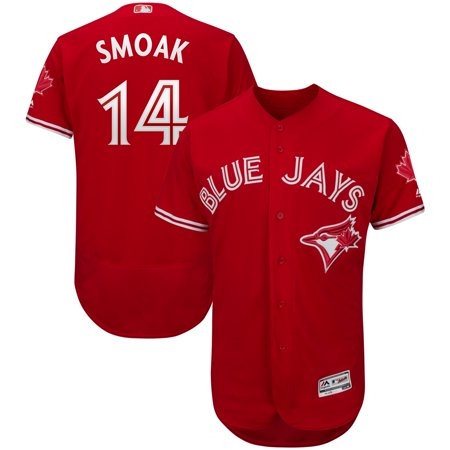 Justin Smoak Toronto Blue Jays Majestic Fashion Canada Day Player Flex Base Jersey - Red