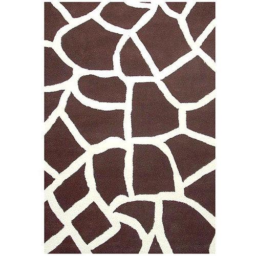 Acura Rugs Contempo Brown/White Area Rug