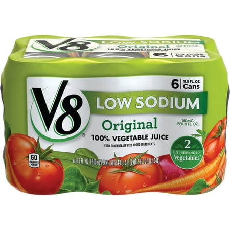 Clam Juice - (12 cans) V8 Original Low Sodium 100% Vegetable Juice, 11.5 oz.