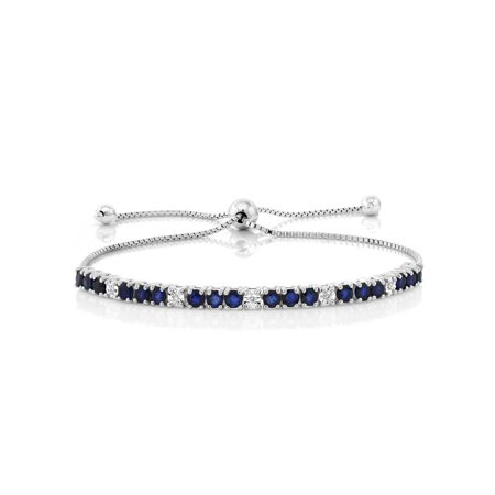 Blue Sapphire & White Diamond 925 Sterling Silver Adjustable Bracelet Colored Sapphire Diamond Bracelet
