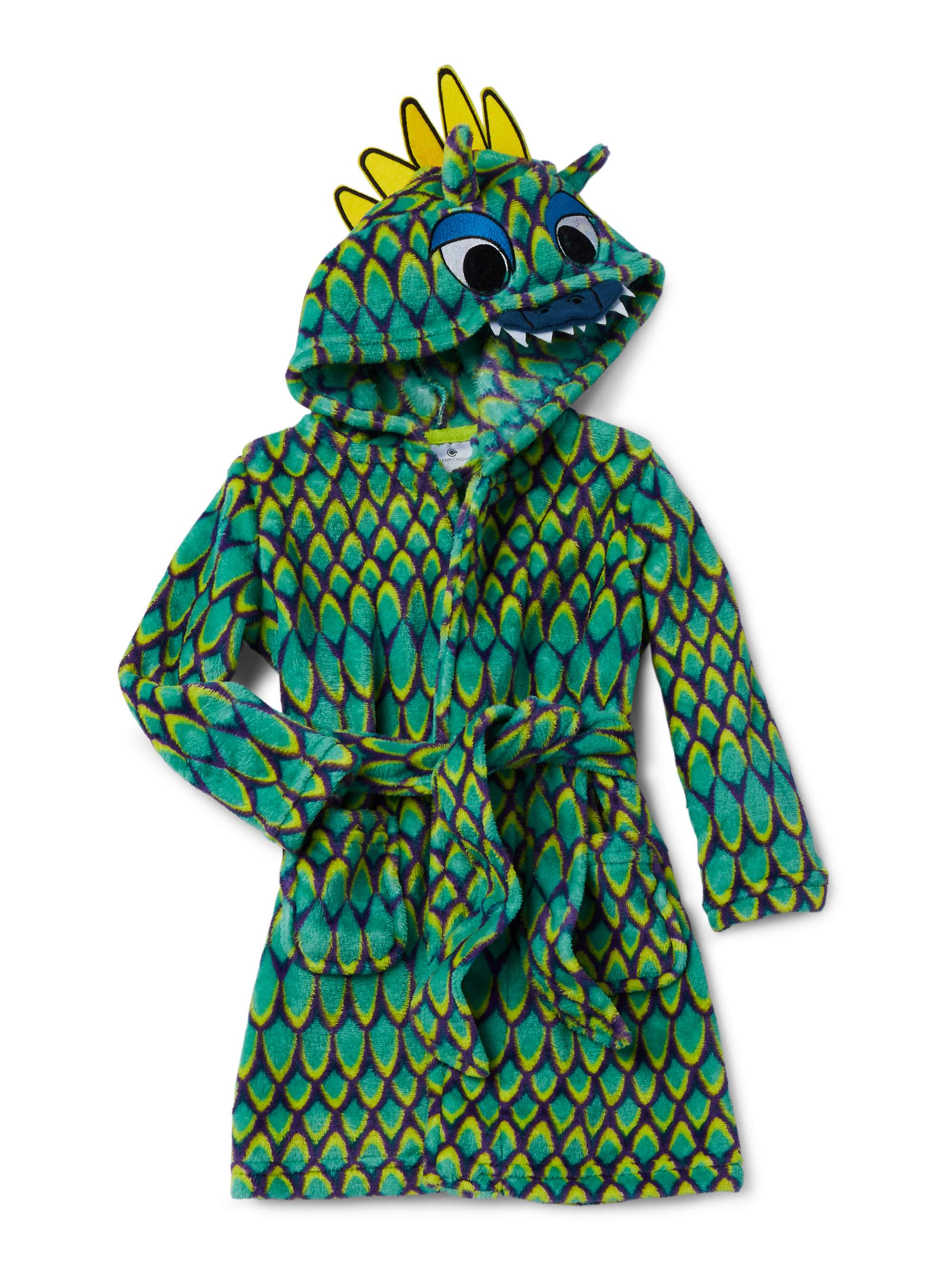 Championship Gold Boys Robe Green Dragon Fleece Hooded Bathrobe