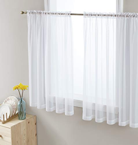 Hlc Me White Window Curtain Sheer Voile Panels For Small Windows Kitchen Living Room And Bedroom 54 X 45 Inches Long Set Of 2 Walmart Canada