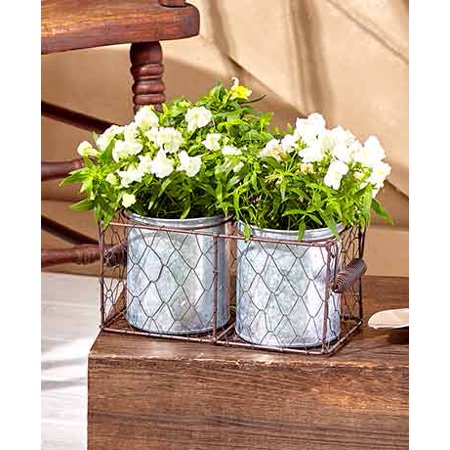 Wire Basket Planters Double