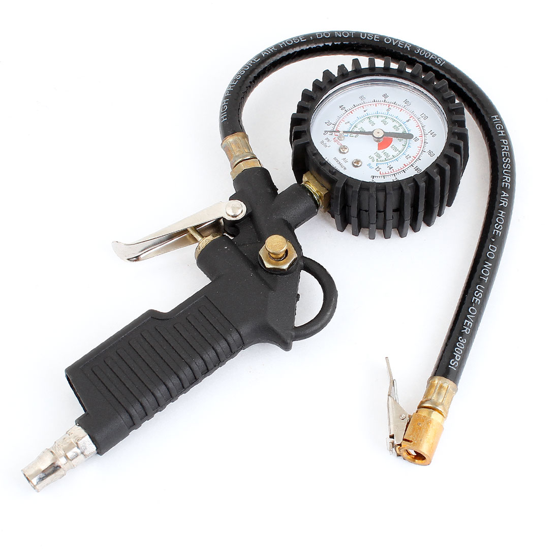 Auto Car Tire Air Pressure Gauge Meter Inflator Gun + Flexible Hose