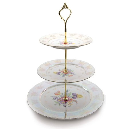 Royalty Porcelain 3-Tier Round Gold-plated Cake and Cupcake Stand, Floral