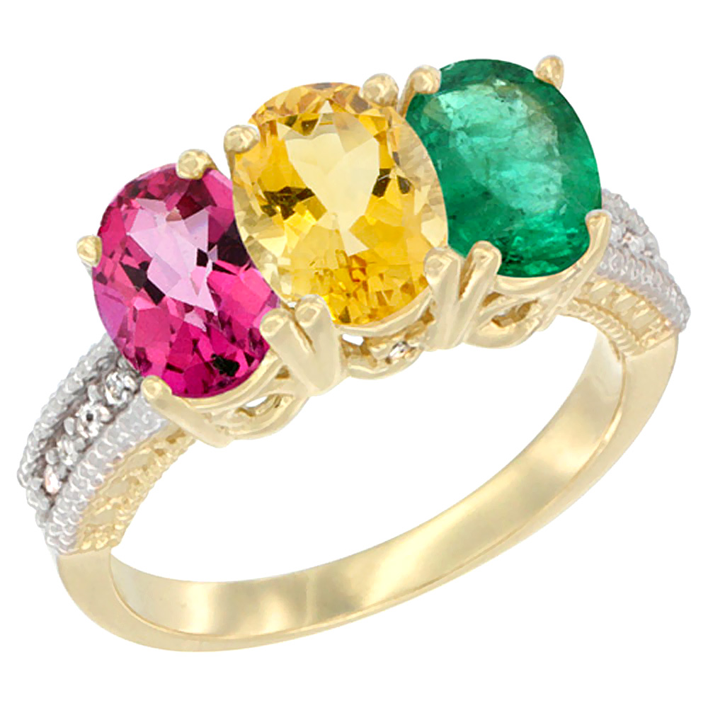 10K Yellow Gold Diamond Natural Pink Topaz, Citrine & Emerald Ring 3-Stone Oval 7x5 mm, sizes 5 10 by WorldJewels