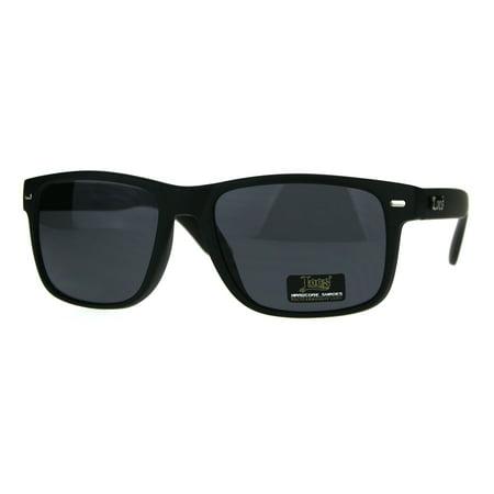 Locs Mens OG Rectangular Classic Horn Rim Sport All Black Sunglasses