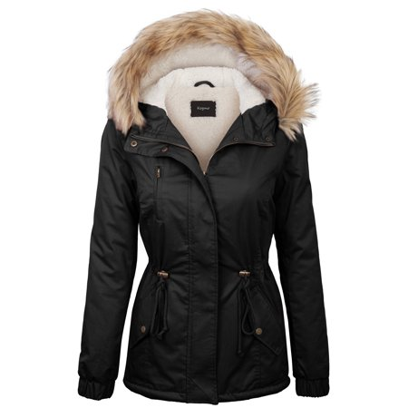 KOGMO Womens Sherpa Lined Zip Up Anorak Jacket Parka with Fur Hoodie