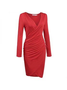 Women Long Sleeve Deep V-neck Pencil Dress Bodycon Solid Slim Party Knee Dress HFON