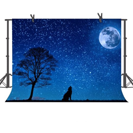 HelloDecor Polyster Photo Background 7x5ft Wolf Under the Moon and Starry Sky Photography Backdrop Props
