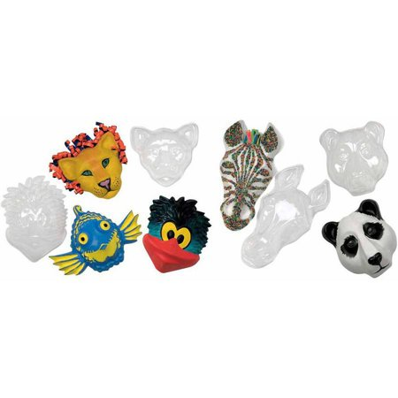 Roylco Make-A-Mask Multi-Cultural Animal Mask Set, Plastic, 8 x 6-1/2 x 2-1/2 Inches, Clear, Set of 5 - Plastic Masks