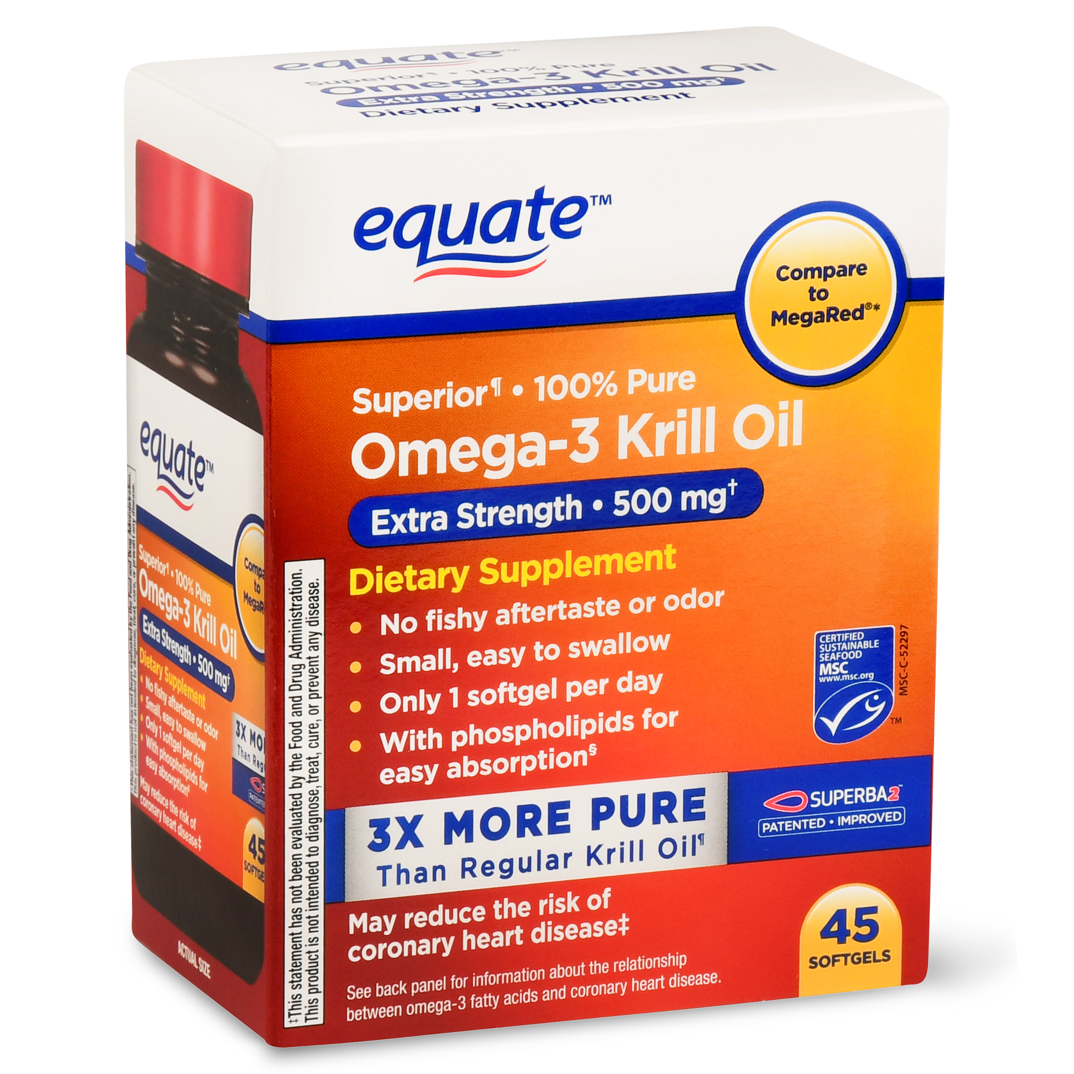 (2 pack) Equate Omega-3 Krill Oil Extra Strength Softgels, 500 Mg, 45 Ct