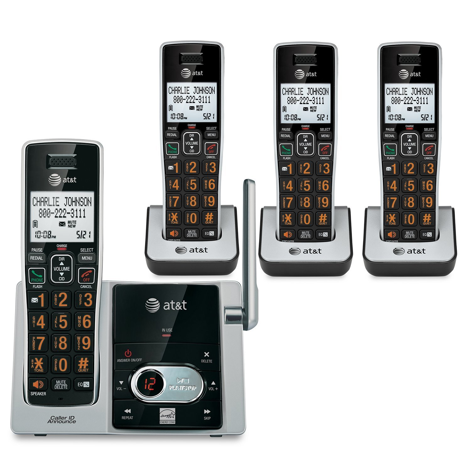 AT&T CL82413 4-Handset Cordless Phone with Answering System, Black