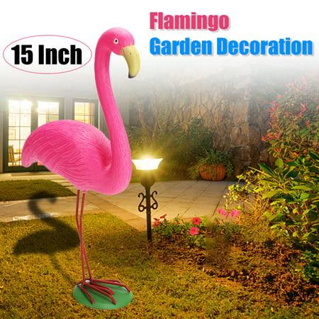 Flamingo Ornament Set Garden Resin + Metal Outdoor Lawn Light Garden Decoration Gift ()