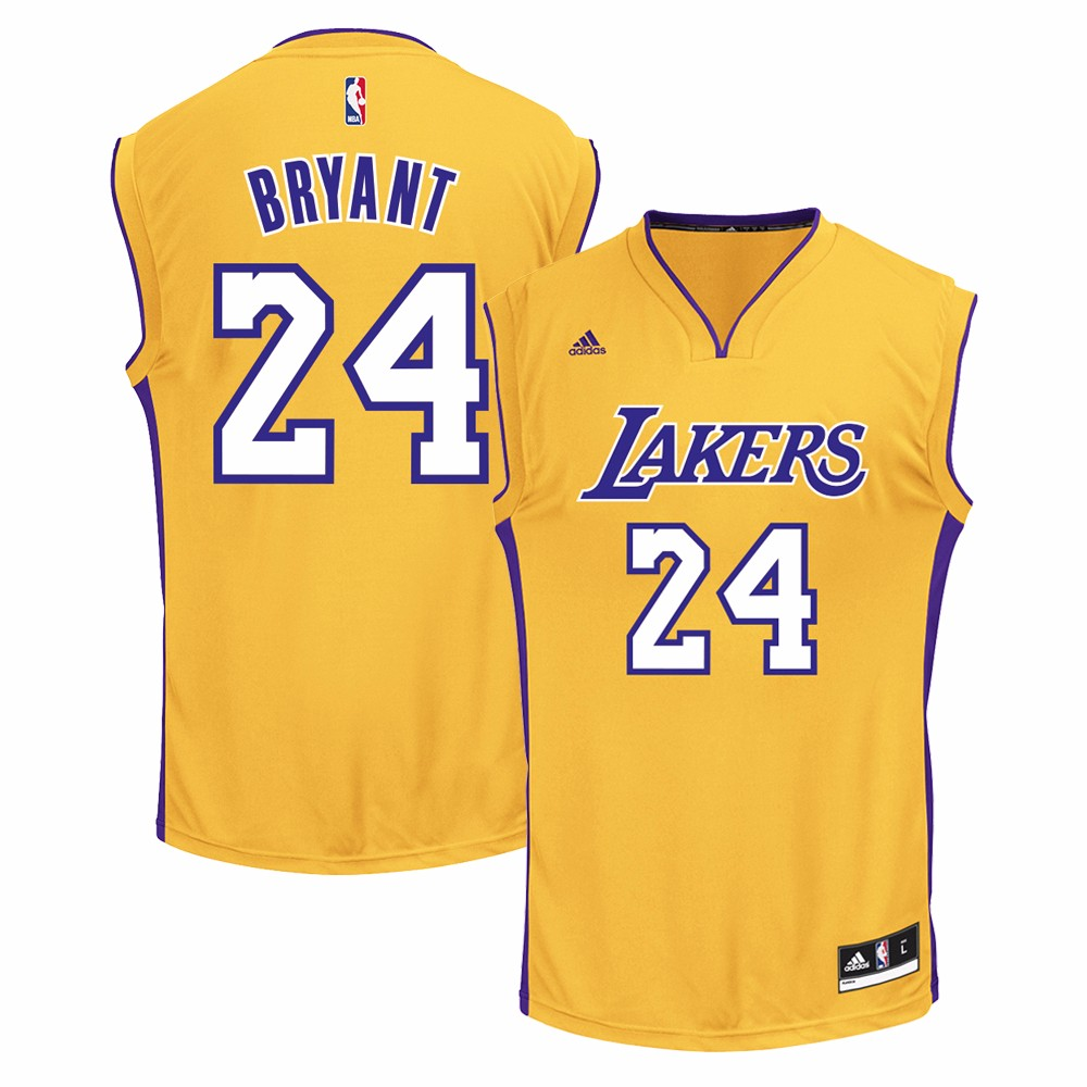 Kobe Bryant Los Angeles Lakers NBA Adidas Men's Gold Official Home Replica Jersey