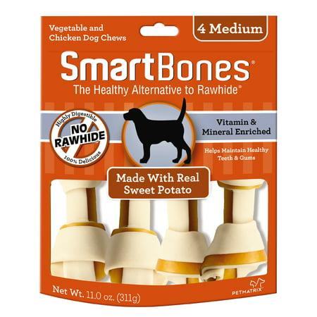 SmartBones Rawhide-Free Dog Bones, Sweet Potato Flavor, 4-Count Dr Chew Sweet Potato