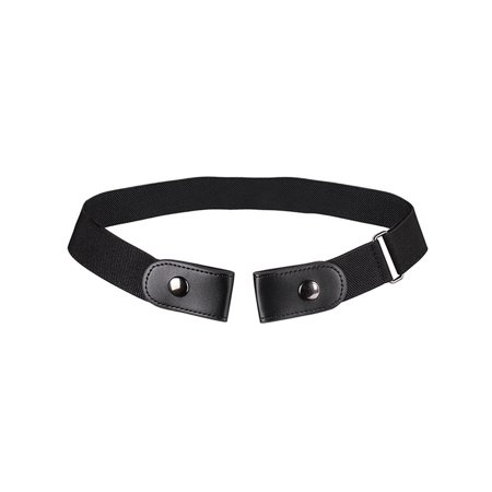 Women Men Unisex Black Buckleless Buckle Free Elastic Belt Waistband (Ladies Black Belt)