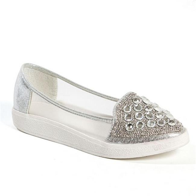 Lady Couture Sky Fashion Sneaker with Stones Shoe, Silver - Size 35