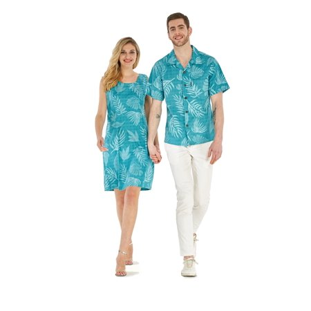 Couple Matching Hawaiian Luau Outfit Aloha Shirt Tank Dress in Aqua Leaf Floral Men XL Women - Homecoming Couples Outfits