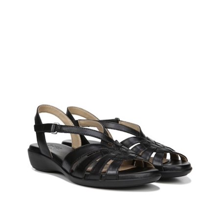 Naturalizer Womens Neka Leather Peep Toe Casual Platform, Black, Size 10.5