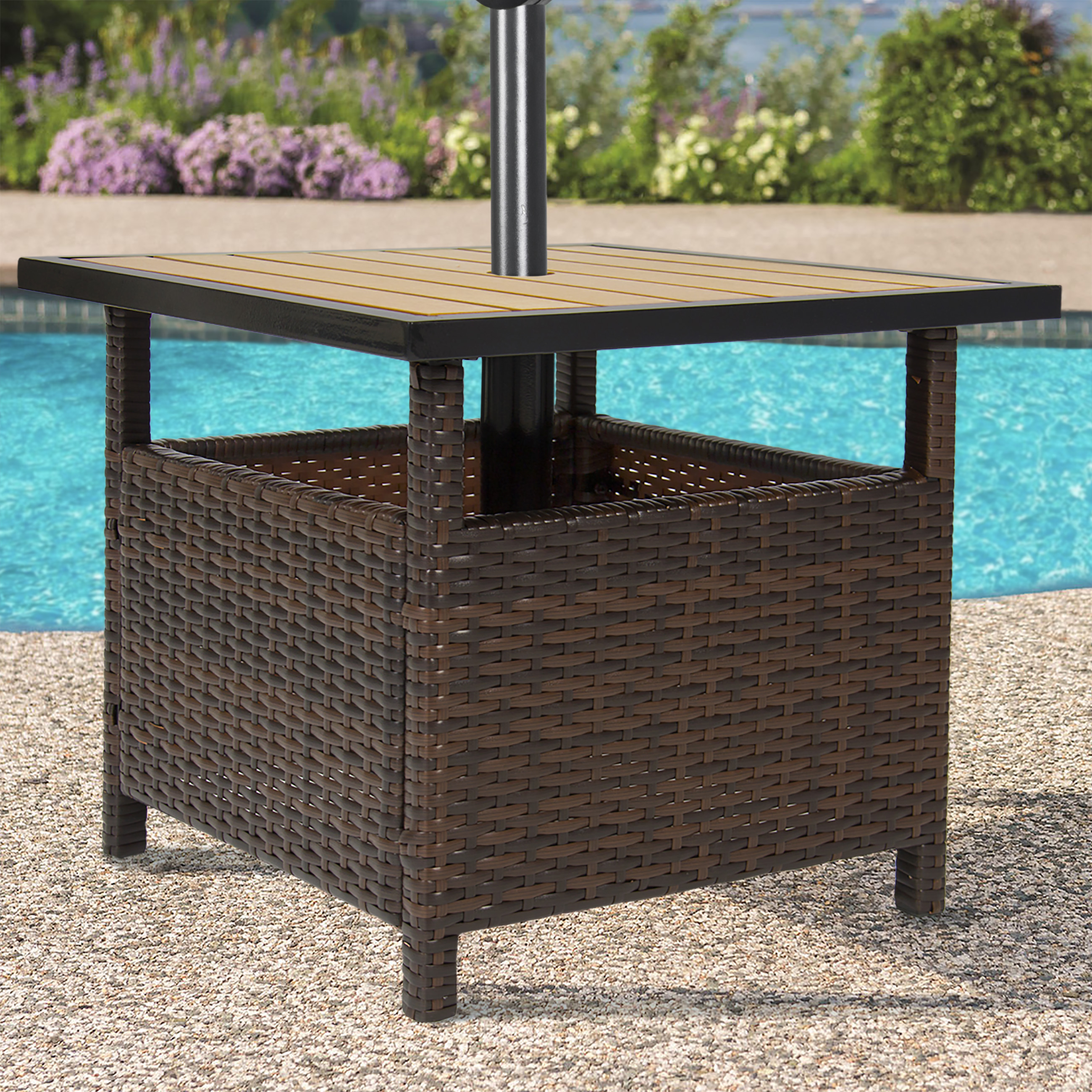 Product Image Best Choice Products Outdoor Furniture Wicker Rattan Patio  Umbrella Stand Table For Garden, Pool Deck