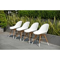 Amazonia Palermo Teak Finish & Resin Patio Chairs, Set of 4