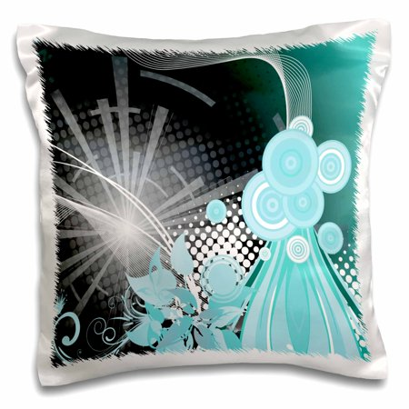 3dRose Turquoise, White, and Black Shimmering Streamers and Circles Abstract - Pillow Case, 16 by 16-inch
