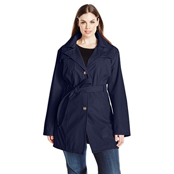 hot-selling latest temperament shoes huge selection of Larry Levine Women's Plus-Size Single Breasted Trench Coat, Navy, 2X