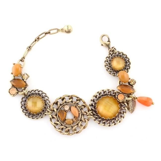 Eshopo 0900000029097 Gold-Tone Metal Yellow Orange And Gold Wrap Around Bracelets