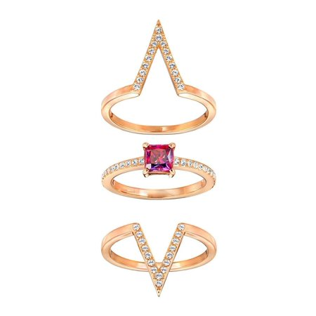 45a4a451319b7 FUNK Set of 3 Rings Rose Gold & Red Crystal Ring Set (Small/52/6) #5257515
