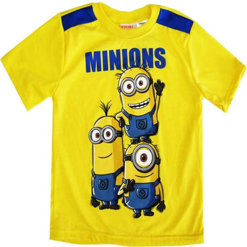 Minions Little Boys Yellow Cartoon Character Short Sleeve Shirt Top 4-7