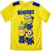 Little Boys Yellow Cartoon Character Short Sleeve Shirt Top 4-7
