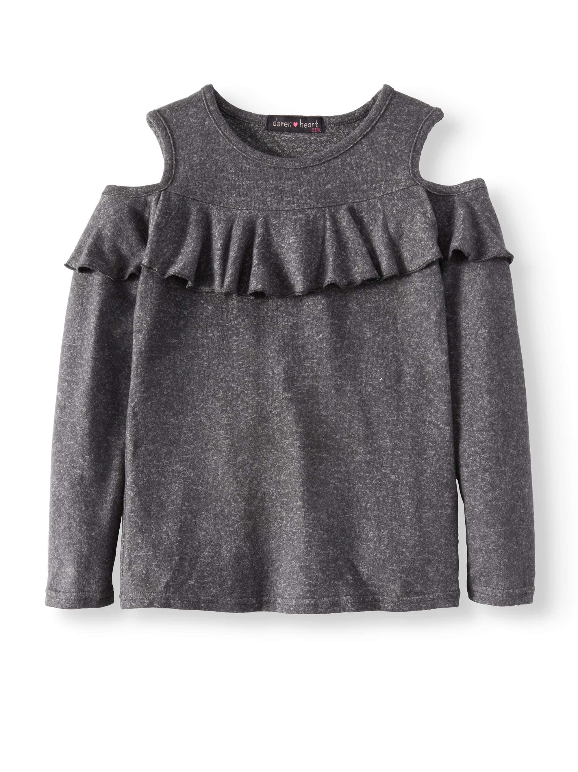 Walmart Derek Heart Cold Shoulder Ruffle Front Sweater Knit Top (Big Girls)