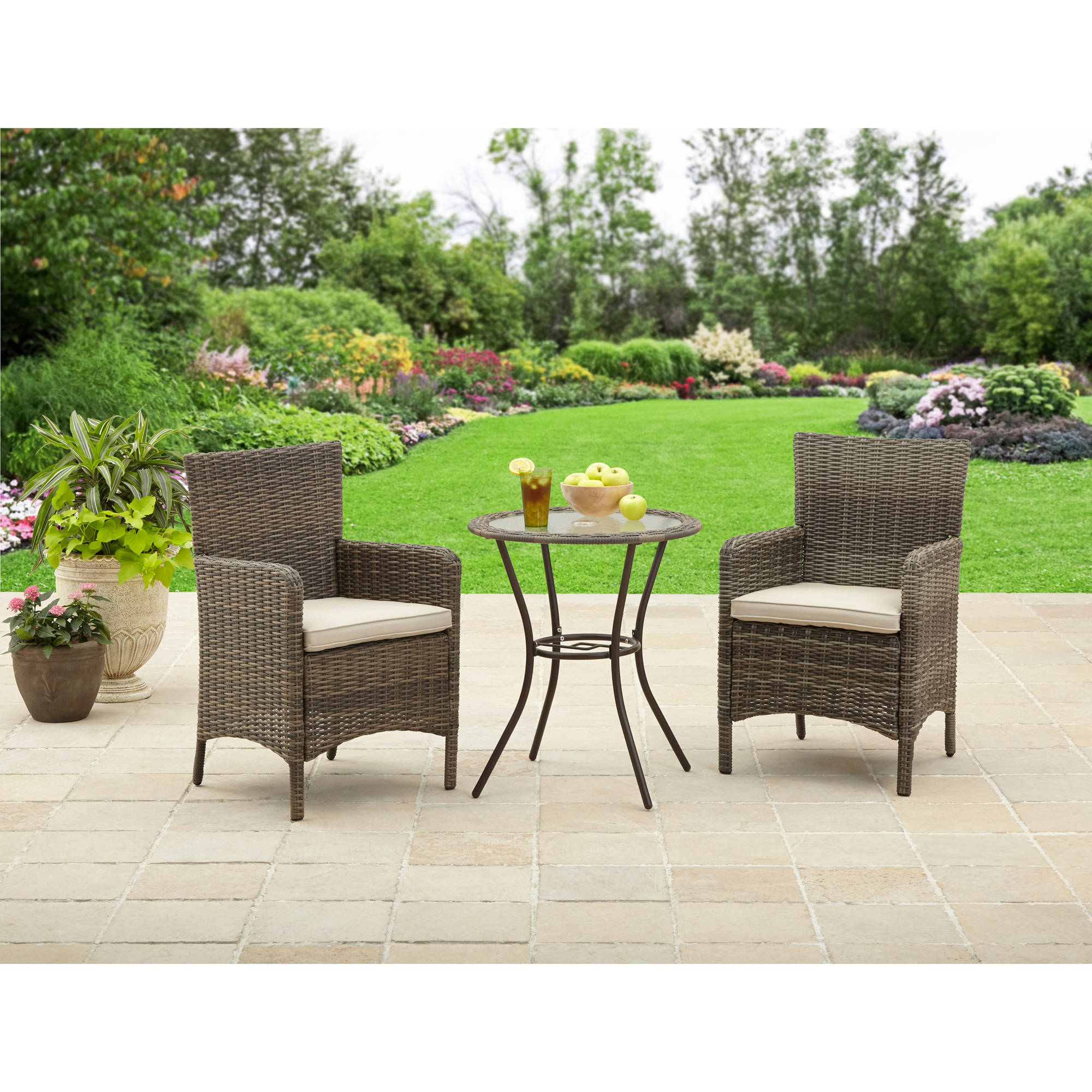 Better Homes & Gardens Whitehaven 3-Piece Bistro Set by Dalian Evert Industry Co.,Ltd