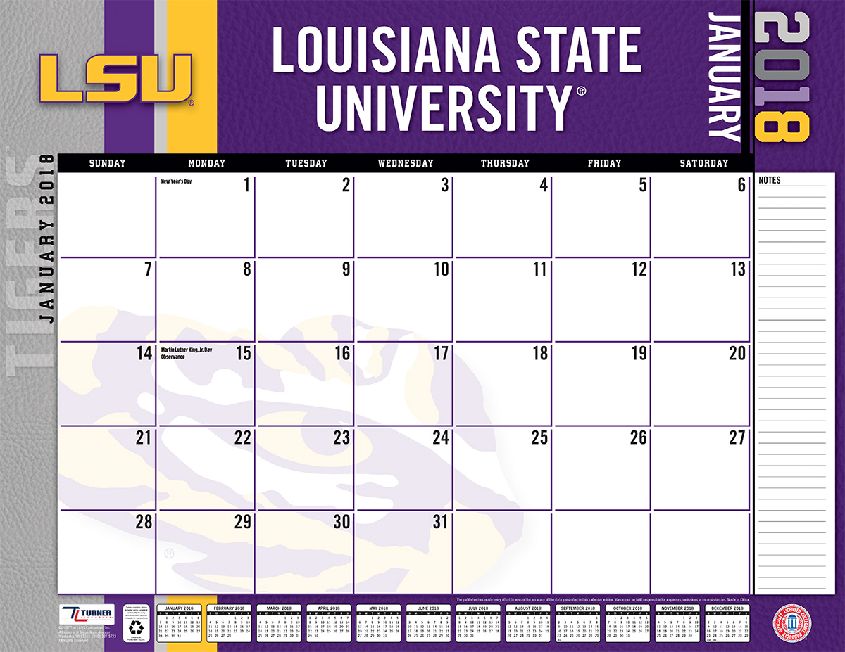 TURNER SPORTS LSU TIGERS 2018 22X17 DESK CALENDAR - Walmart.com