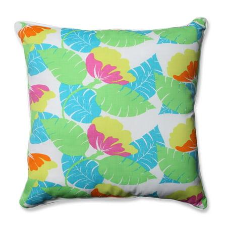 "25"" Mermaid Blue Lime Green Leaf Pattern Indoor Outdoor Tropical Floor Pillow ()"