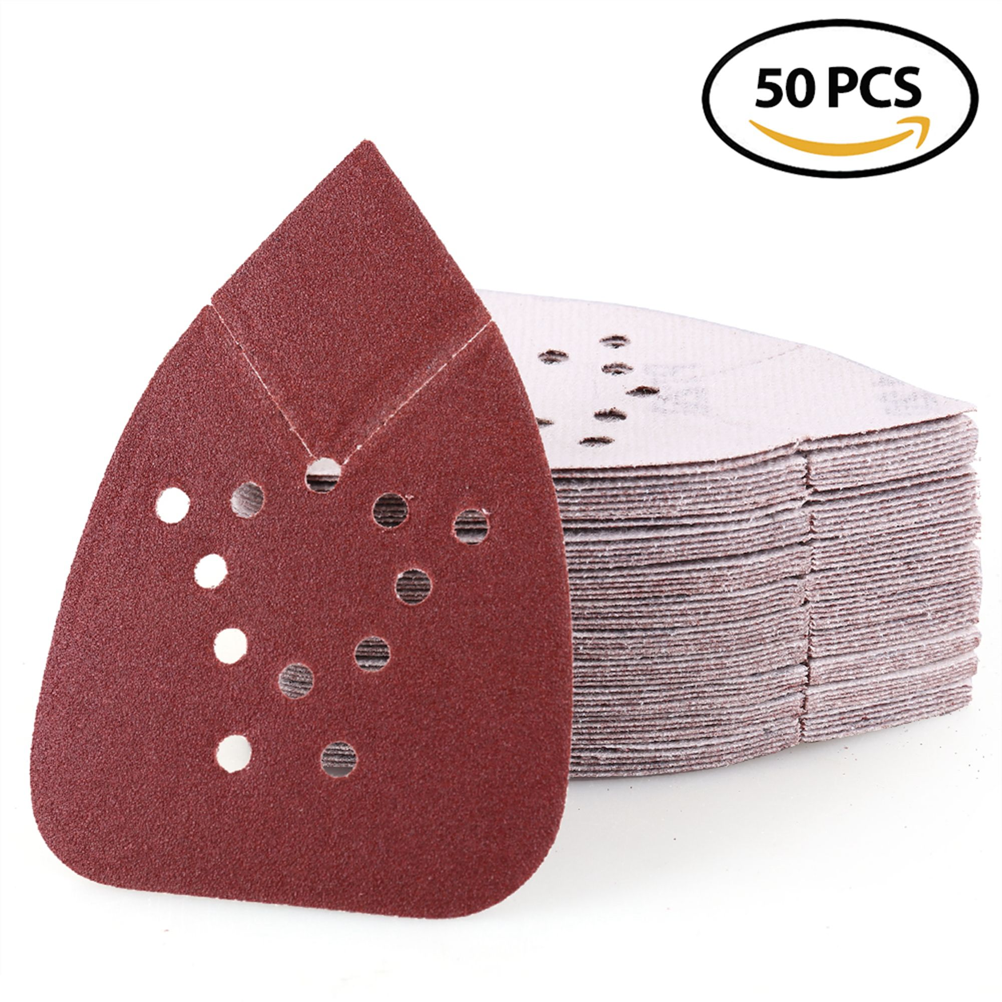 Sanding Sheets 120 Grit Hook and Loop Sandpaper - LotFancy 12 Holes Mouse Detail Palm Sander Paper, Pack of 50