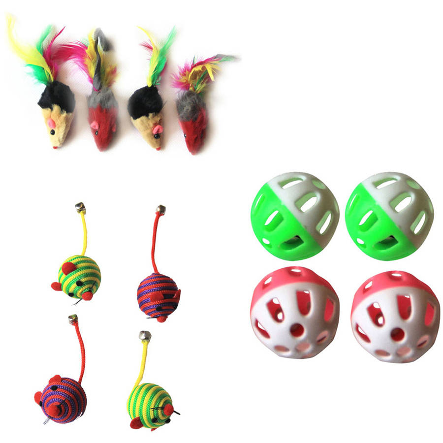 Iconic Pet Fur Mice, Nylon Rope Ball and Plastic Ball, Set Of 3