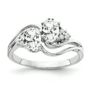 Primal Gold 14 Karat White Gold 6x4mm Oval Cubic Zirconia and AA Diamond Ring