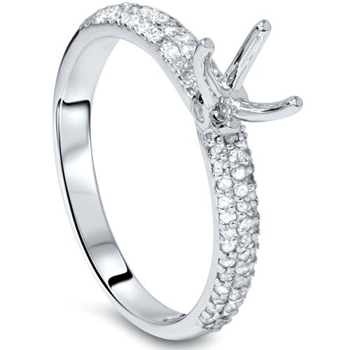 Pompeii3 3/8ct Pave Diamond Engagement Ring Setting White...