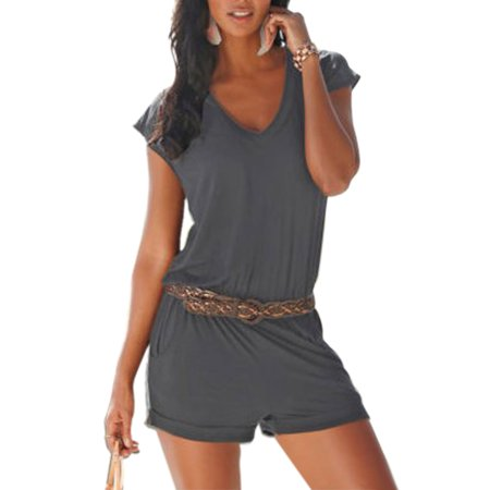 Vintage Sexy Women V-Neck Casual Playsuit Party Beach Jumpsuit Romper (Blue Plaid Romper)