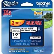 "Brother 12mm (1/2"") Black on White Laminated Tape (2 Pack of TZ231) (8m/26.2') TZE2312PK"