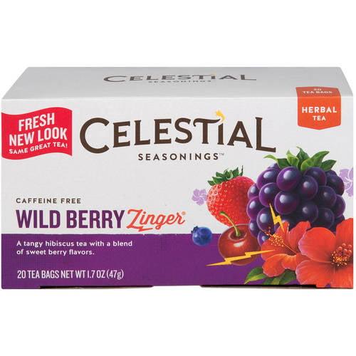Celestial Seasonings Wild Berry Zinger Herbal Tea Bags, 20 count, 1.7 oz
