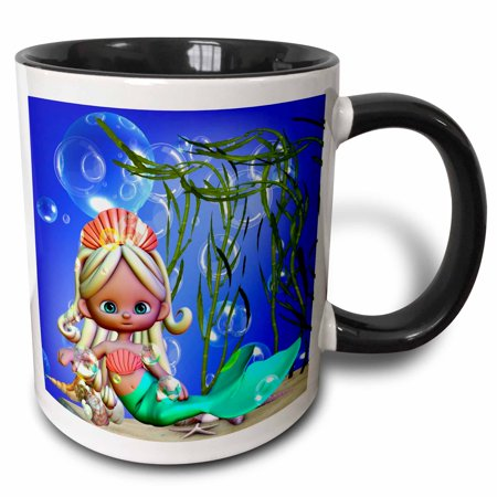 3dRose Adorable Mermaid under the sea with bubbles and shells is a charmer - Two Tone Black Mug, 11-ounce](Under The Sea Items)