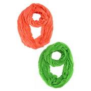Lightweight Crinkled Circle Infinity Loop Scarf 2-Pack Set
