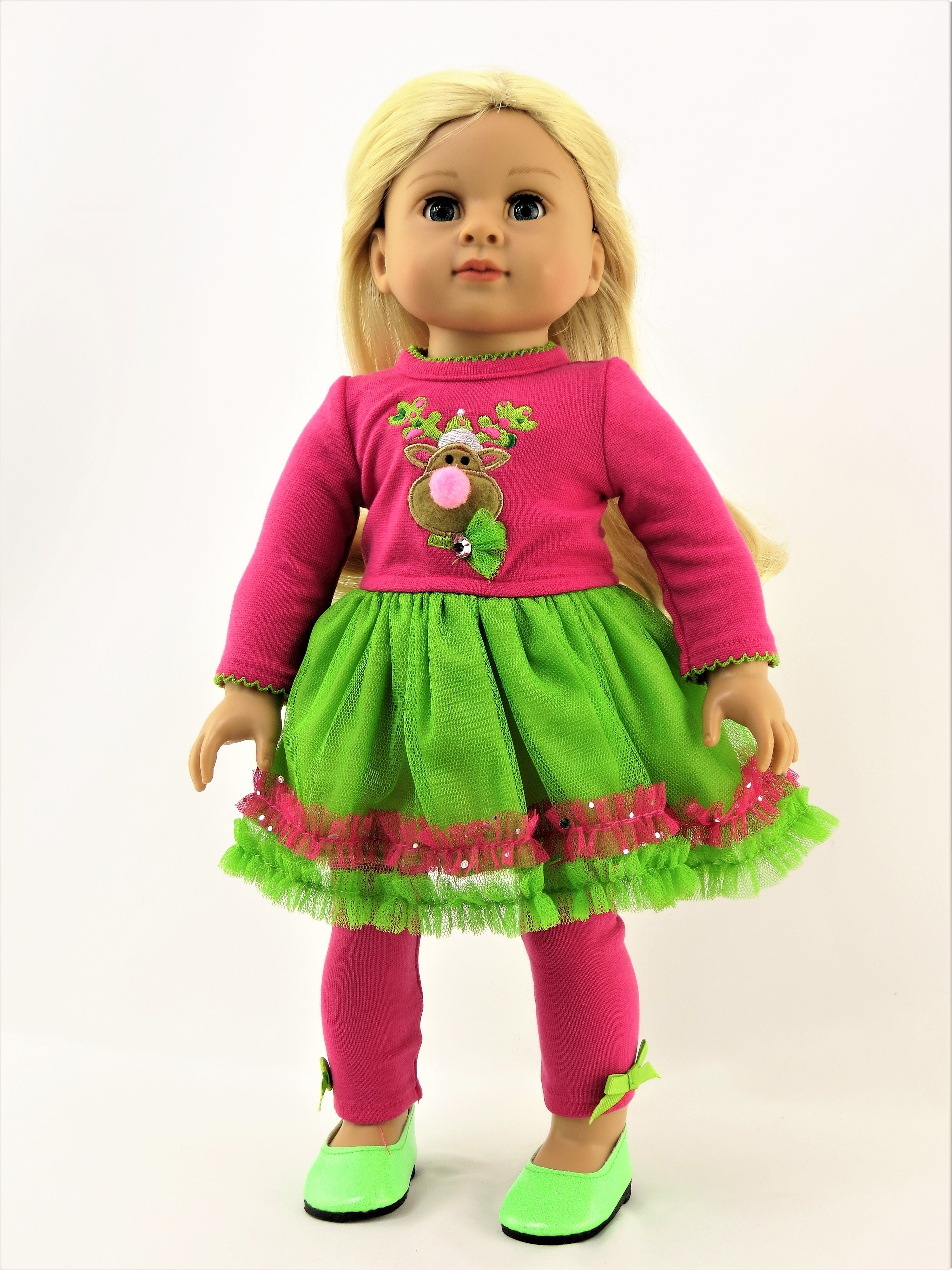 """Hot Pink Christmas Reindeer Dress   -Fits 18"""" American Girl Dolls, Madame Alexander, Our Generation, etc. 