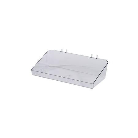 """Clear Plastic Tray for Slatwall - 6½""""L x 12""""W x 3""""D - Set of 2"""